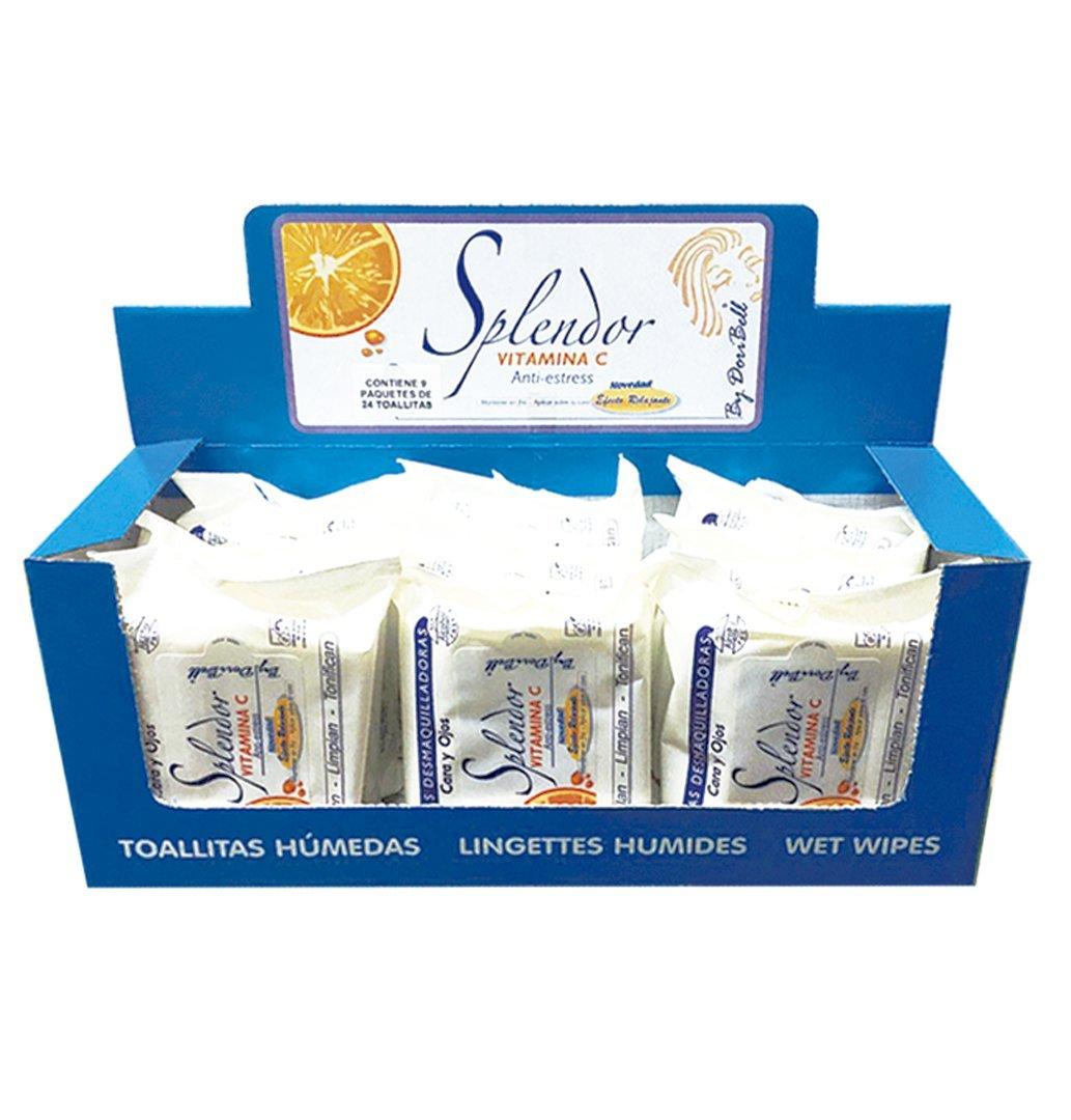 Pack con expositor 9 paquetes de 24 toallitas desmaquillantes Splendor con Vitamina C sin alcohol By DoriBell ®: Amazon.es: Belleza
