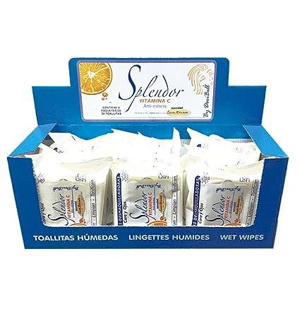 Pack con expositor 9 paquetes de 24 toallitas desmaquillantes Splendor con Vitamina C sin alcohol By