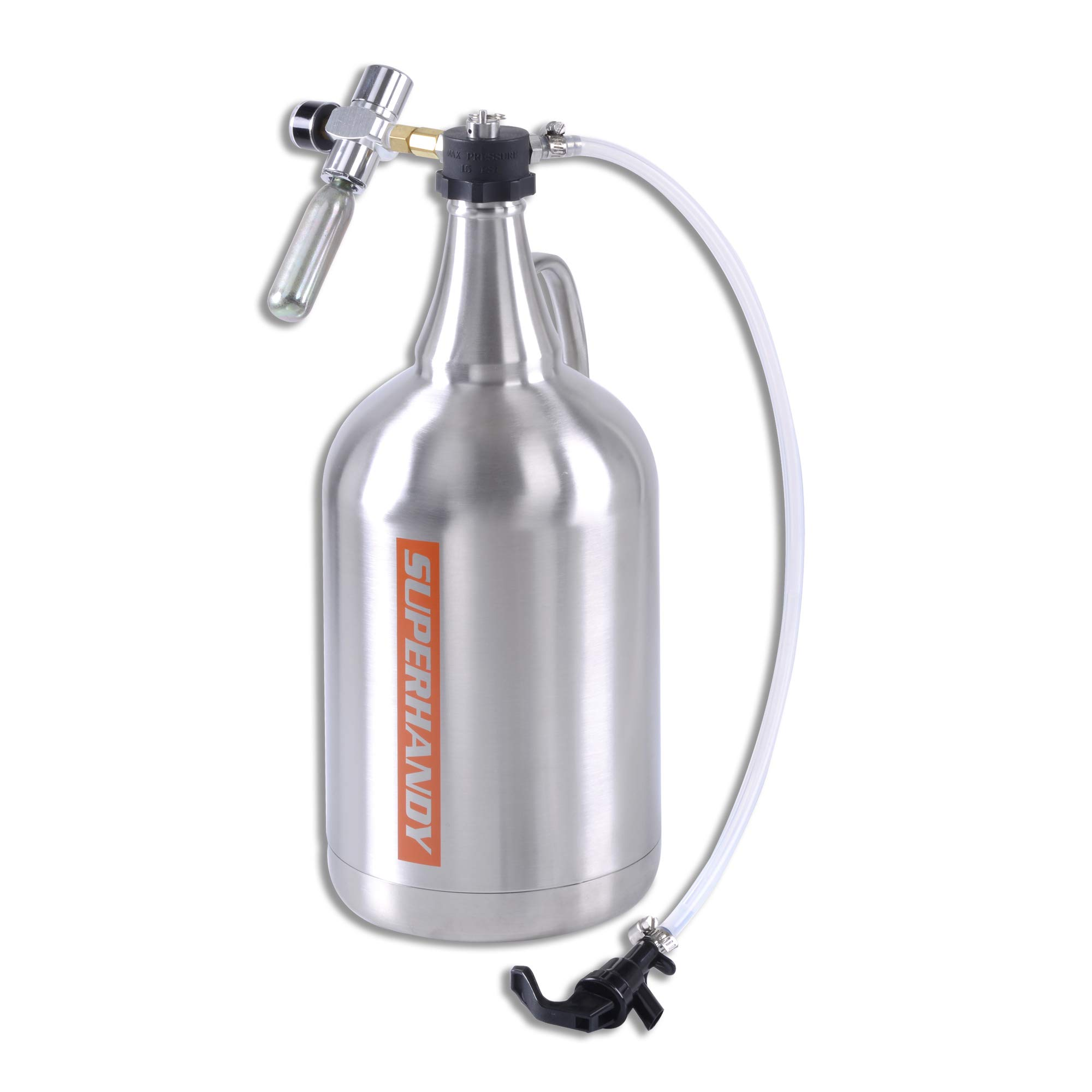 "SuperHandy Growler 1 Gallon 128 Ounce Stainless Steel Double Wall Insulated Tap Dispenser for Craft/Draft/Homebrew Beer 30PSI Regulator Relief Ring Food Grade use 12/16 Gram 3/8""-24UNF Thread Cylinder"