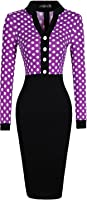 jeansian Women's Elegant V-Neck Polka Dots Long Sleeves Bodycon Slim Pencil Dress Office Lady Dresses WKD240