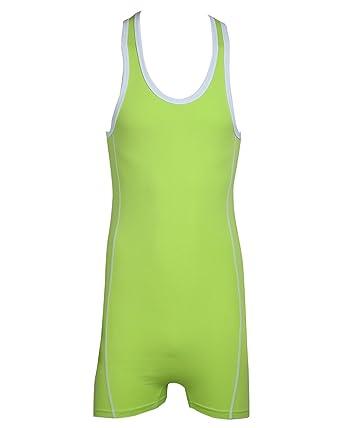 35a1d56a41 Tiaobug Herrenbody Männerbody Einteiler Body Overall Unterwäsche Baumwolle  Muskel Shirt Unterhemd M-XL Grün M