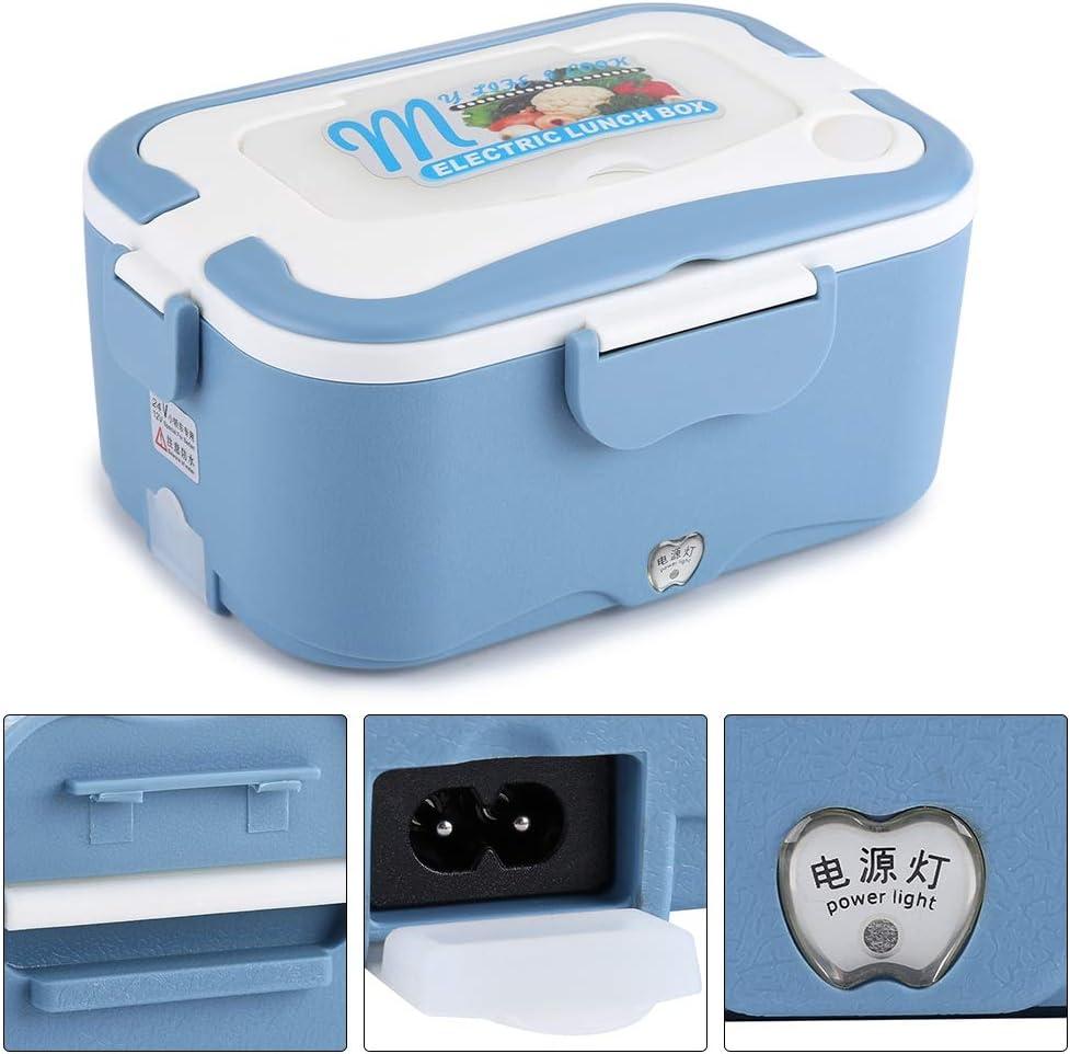 Fiambrera El/éctrica para Coche Tenedor y Palillos Azul, 12V Coche El/éctrico Caja De Almuerzo con Cuchara 1.5 Lonchera Calentable de Acero Inoxidable