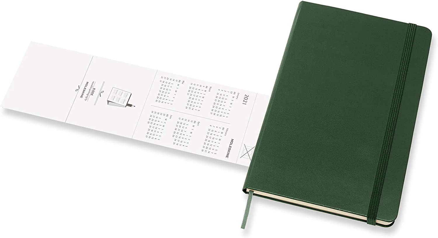 Weekly Planner 2020//2021 Colour Myrtle Green Weekly Notebook with Hard Cover and Elastic Closure Size Large 13 x 21 cm 18-Month Weekly Planner//Diary 208 Pages Moleskine