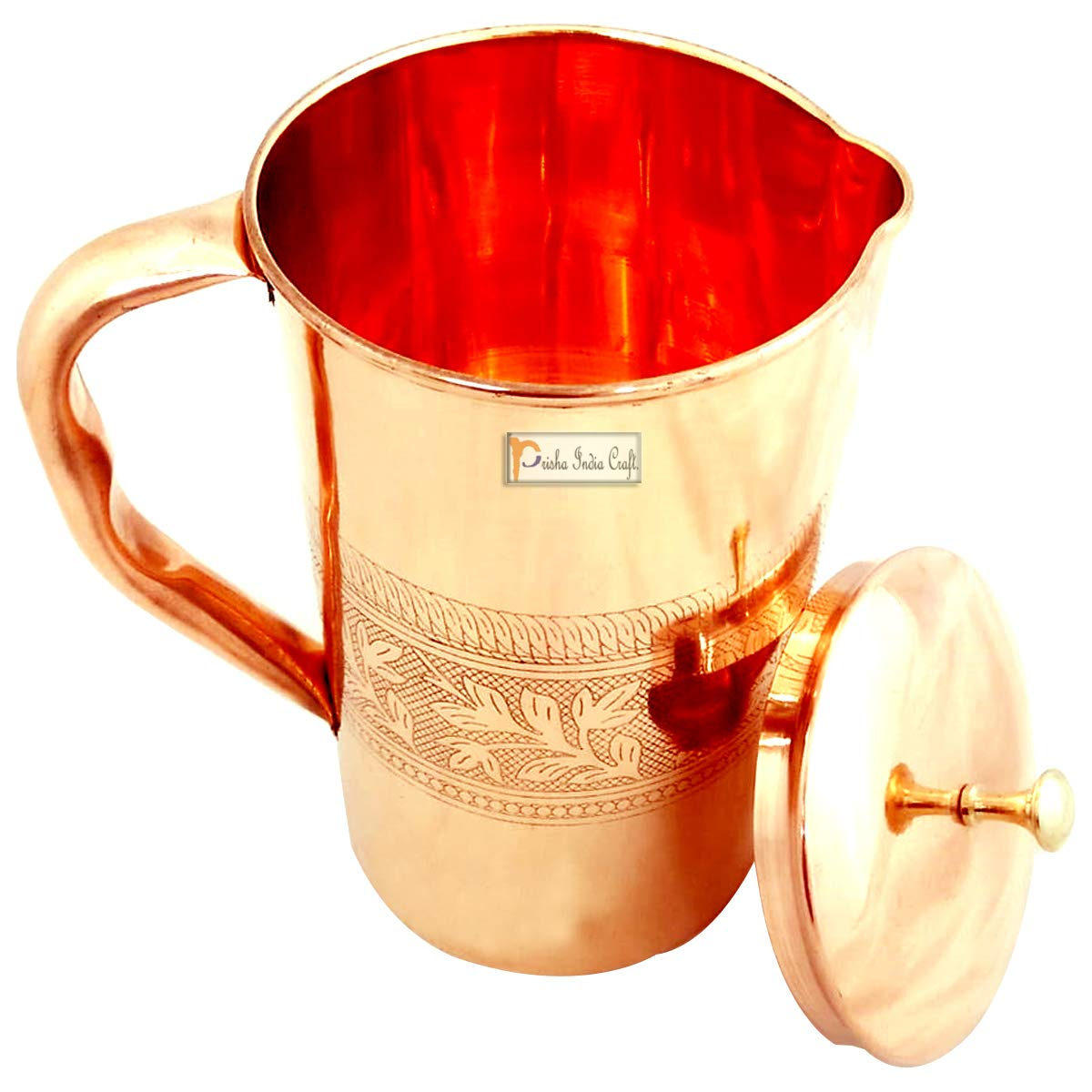 Prisha India Pure Copper Jug Pitcher with Lid for Health Benefits Ayurveda Healing PRISHA INDIA CRAFT jug013