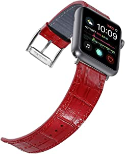 Faytop Bright Patent Red Leather Strap for Apple Watch Band 38mm 40mm Women Men,Alligator Grain Leather Strap for iWatch Apple Watch Series 5/4/3/2/1 Sport and Edition