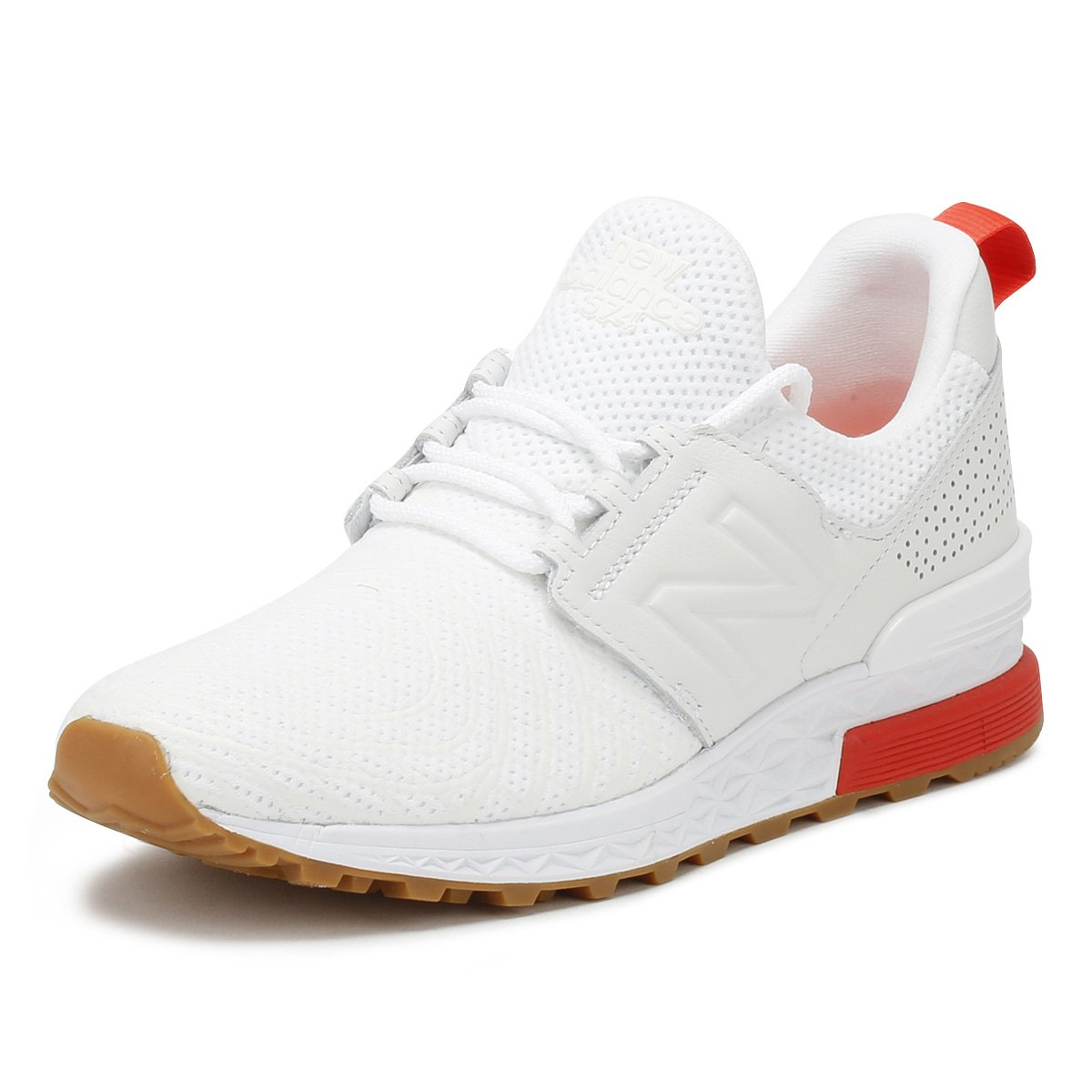 check out db6cb e54b6 Amazon.com | New Balance Mens White/Flame 574 Sport Sneakers ...