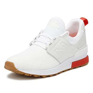 318211a75b2ac Amazon.com | New Balance Mens White/Flame 574 Sport Sneakers | Shoes
