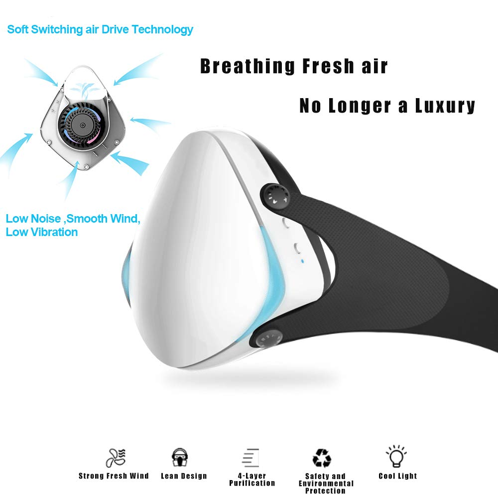 Smart Electric Masks - Medical Grade Fresh Air Purifying Mask with 10PCS Replacement Filters Anti Pollution/Anti Haze/Dust Proof Mask for Exhaust Gas, Pollen Allergy, PM2.5, Running, Cycling by Anna Home Collection (Image #2)