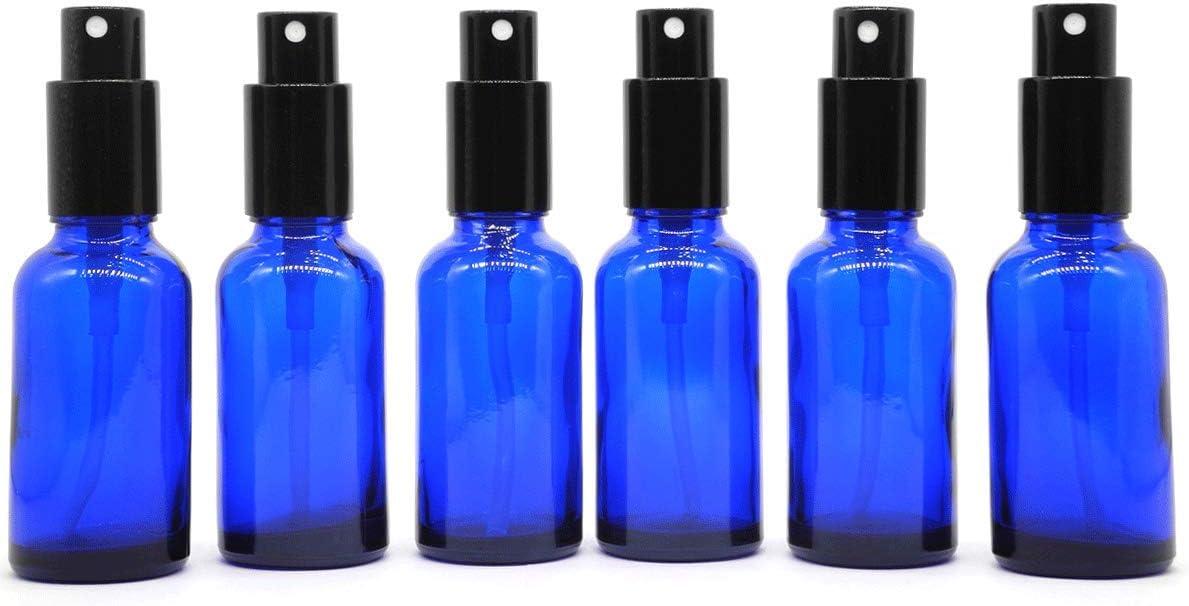 Yizhao Azul Pulverizador Cristal 30ml, Glass Spray Bottles con [Atomizador],para Aceites Esenciales, Mezclas de Aromaterapia, Perfumes, Masajes, Líquidos Químicos, Farmacéutico– 6Pcs