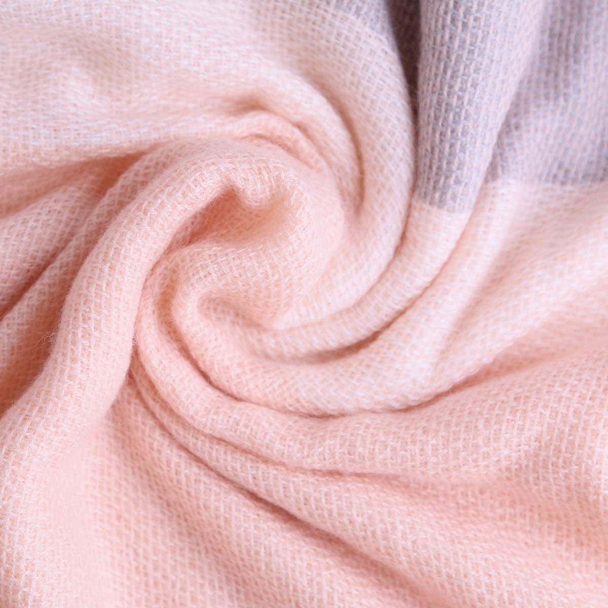 Women Square Plaid Blanket Scarf Shawl for Winter Wear Oversized Warm Soft Chunky Square Scarf (pink)