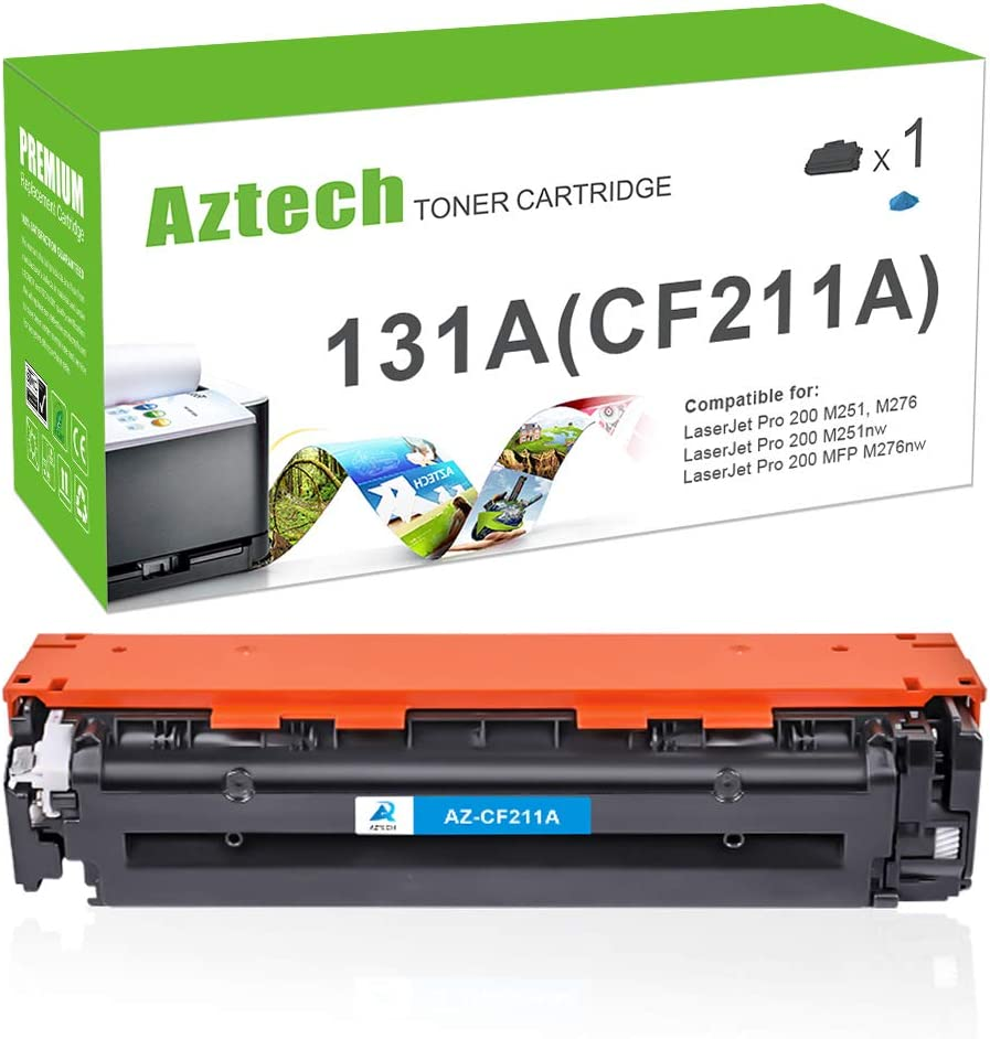 Aztech Compatible Toner Cartridge Replacement for HP 131X 131A CF211A CF211X for Laserjet Pro 200 Color MFP M276nw M251nw MF8280Cw M276n M251n (Cyan, 1-Pack)