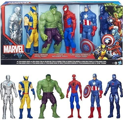SUPER PACK 6 FIGURINES MARVEL AVENGERS RASSEMBLEMENT 30 CM WOLVERINE IRON MAN ARGENT (MARK II) HULK SPIDERMAN IRON MAN BLEU (STEAL) CAPTAIN AMERICA: Amazon.es: Juguetes y juegos