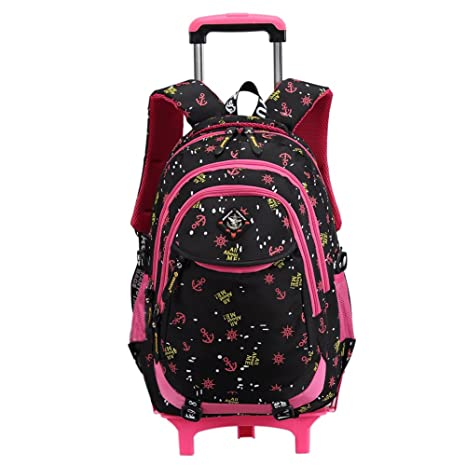 Bolsa de escuela mochila de escuela ruedas chica niña nailón impermeable desmontable para alumnas la escuela primaria (Negro): Amazon.es: Equipaje