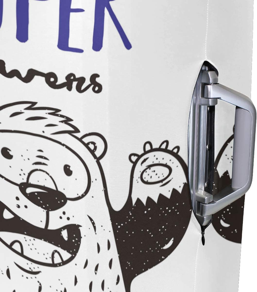 FOLPPLY Funny Bear I Have Super Powers Luggage Cover Baggage Suitcase Travel Protector Fit for 18-32 Inch