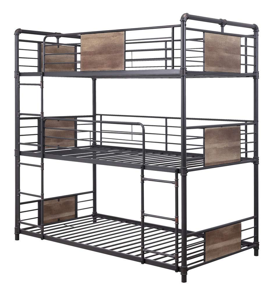 ACME Furniture Brantley Triple Bunk Bed, Sandy Black and Dark Bronze Hand-Brushed