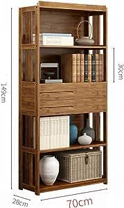 DULPLAY Vendimia Gaveta Estantería de bambú,Bambú Espesado Librería anaquel Pie de Estantería Multifunctionalstorage Rack para hogar u Oficina-C 70x28x149cm(28x11x59inch)
