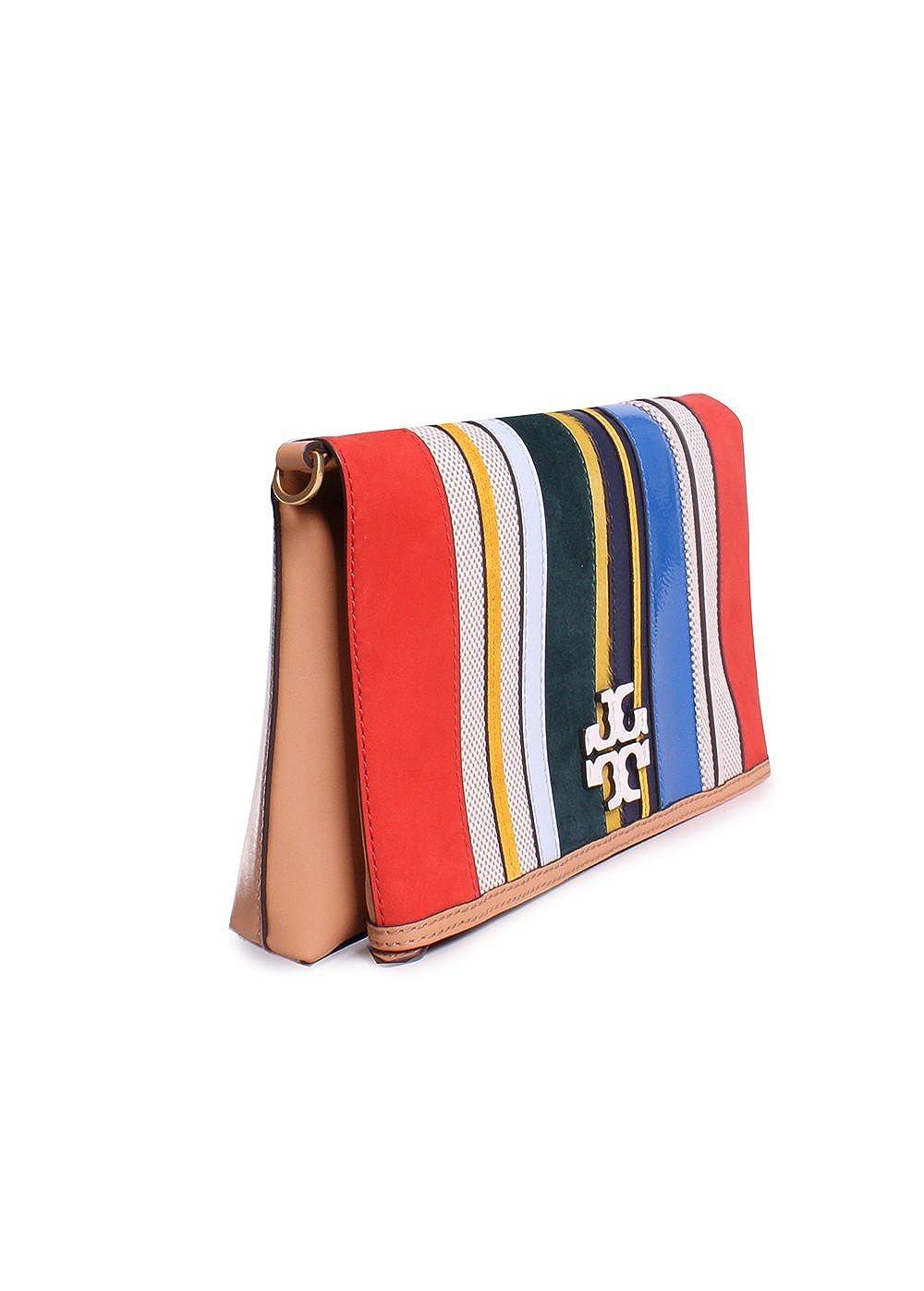 76f58d8fdeb3 Amazon.com  Tory Burch McGraw Stripe Leather Foldover Crossbody Handbag in  Balloon Stripe  Clothing