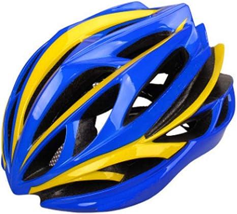 Equipo de proteccion Casco Casco de bicicleta MTB Ciclismo Bicicleta Deportes Casco de seguridad Fuera de la carretera Casco de súper bicicleta de montaña Molde integral EPS + PC Hombres Mujeres, Azul:
