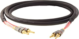 product image for Blue Jeans Cable Canare 4S11 Speaker Cable, with Welded Locking Bananas, Conventional (Non-Bi-Wire) Terminations, Black Jacket, 10 Foot (Single Cable - for one Speaker); Assembled in The USA