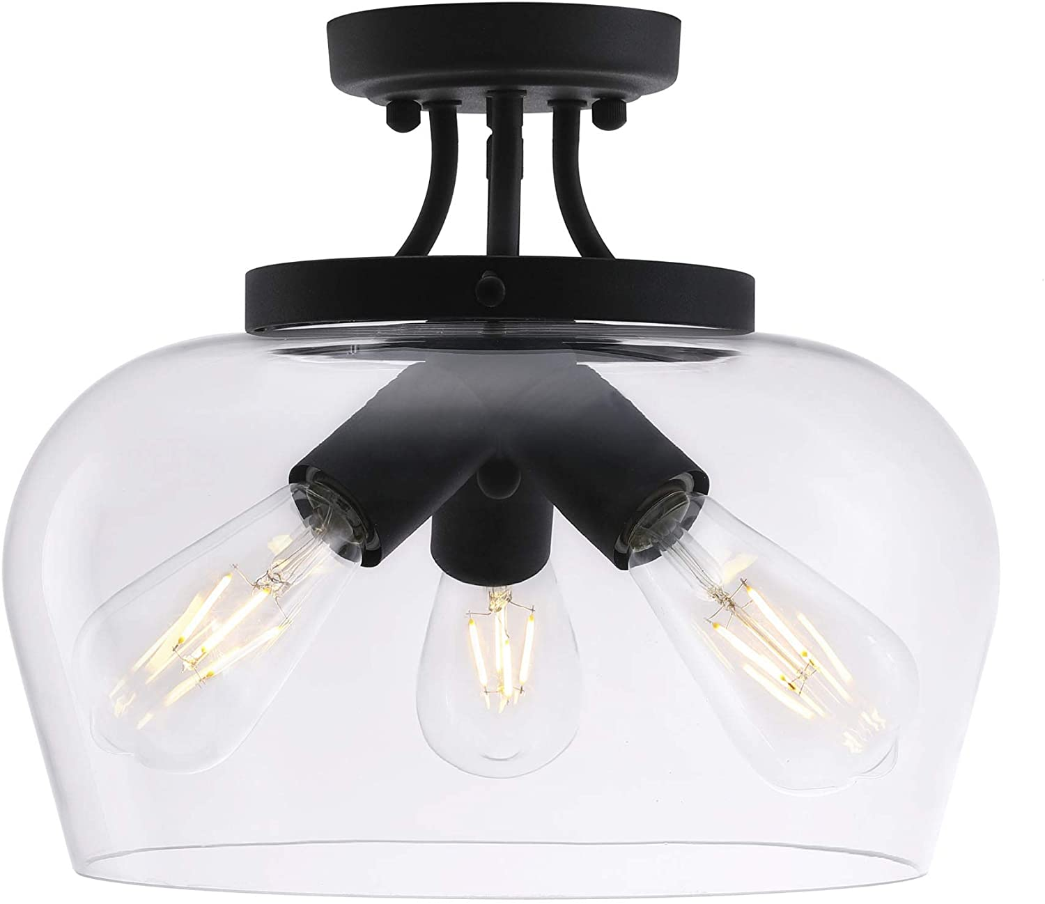 CO-Z Modern Industrial Clear Glass Shade Ceiling Light Fixture, 3 Bulb Matte Black Semi Flush Mount Ceiling Lighting Fixture for Kitchen Island Dining Table Bedroom Hallway Living Room Entryway Foyer