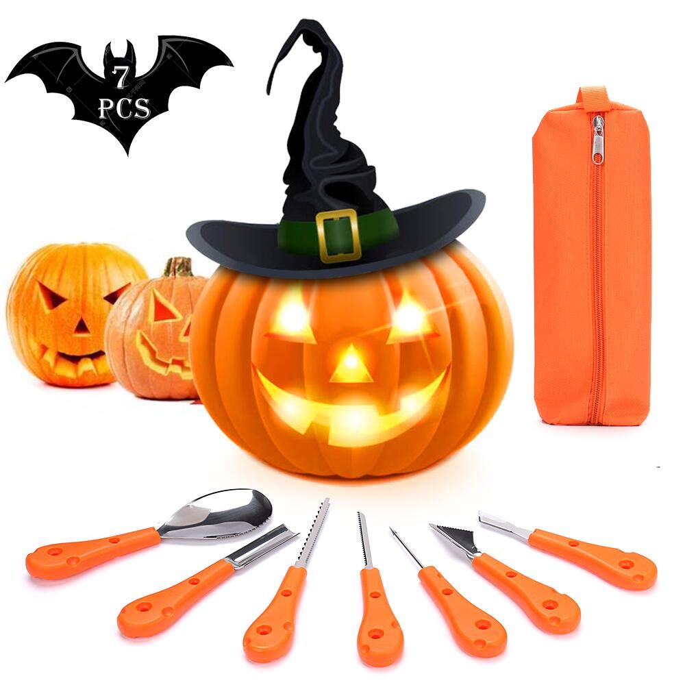 KIPIDA Halloween Pumpkin Carving Kit, 7 Pieces Professional Pumpkin Carving Tools Set Heavy Duty Stainless Steel Pumpkin Carving Knife for Halloween Decoration, Easily Sculpting with Carrying Case by KIPIDA