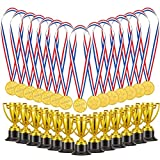 Biubee Pack of 72 Children's Golden Plastic Award Medals Trophy Set- 36Pcs Winner Medals Plus 36 Pcs Trophies for Sports, Competitions, Celebration and Party Favors