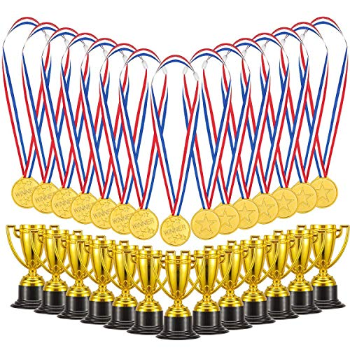 Soccer Trophy Trophy - Biubee Pack of 72 Children's Golden Plastic Award Medals Trophy Set- 36Pcs Winner Medals Plus 36 Pcs Trophies for Sports, Competitions, Celebration and Party Favors