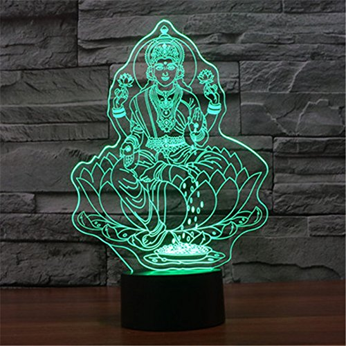 Christmas Valentine Wedding And Birthday Gifts 3D Table Touch Lamp 7 Colorful Color Changing Night Light for Children and Kids Buddha statues