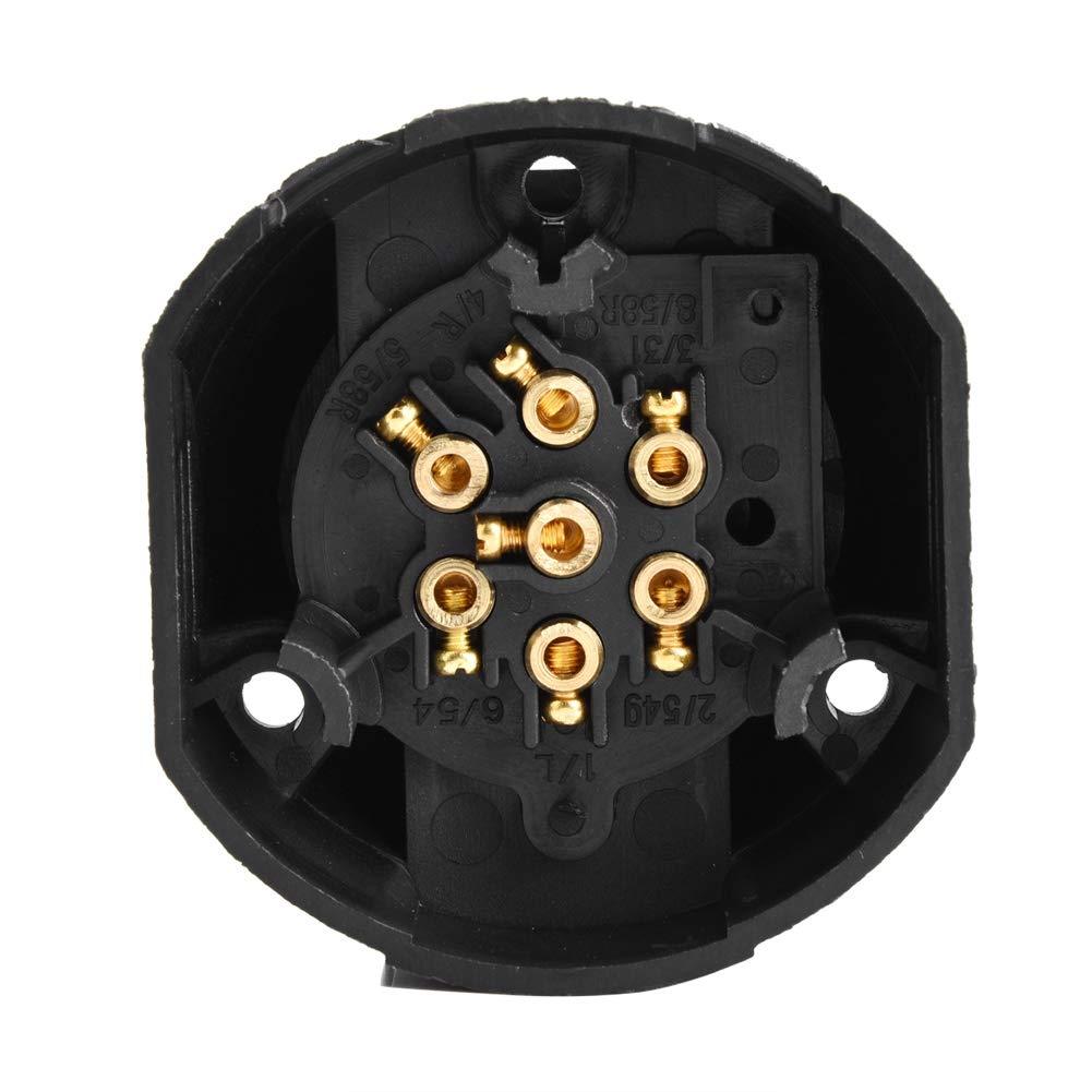 EBTOOLS C/âble de Prise Rond /à 7 Broches 12V Remorques et Semi-remorques Adapt/é aux V/éhicules Utilitaires /étanche et Portable Camions