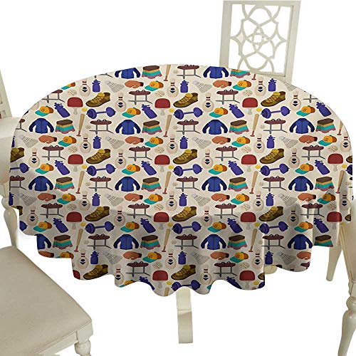 (rectangle round tablecloth 36 Inch Sport,Competitive Activities Goods Pattern Weights Coats Bowling Pins Ping Pong Gymnastic,Multicolor Great for,family,outdoors,restaurant,Party,Wedding,Coffee Bar,tr)