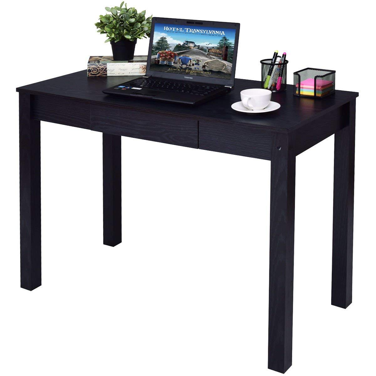 Tangkula Computer Desk, Writing Study Table, Home Office Compact Efficient Laptop PC Desk with Drawer, Wood Computer Workstation Writing Study Desk (Black)