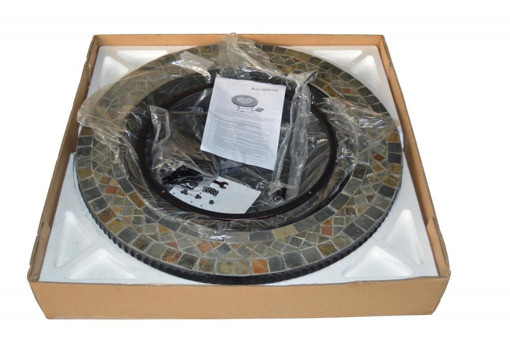 HIO 34-Inch Wood Burning Natural Slate Top Fire Pit with Copper Accents Cover Included For Backyard And Patio