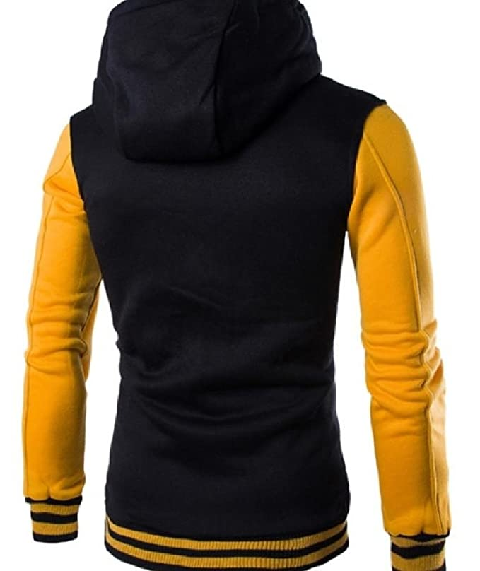 Abetteric Mens Hoodie Cotton Baseball Varsity Jacket Mustard Mutil Color Hooded Coat