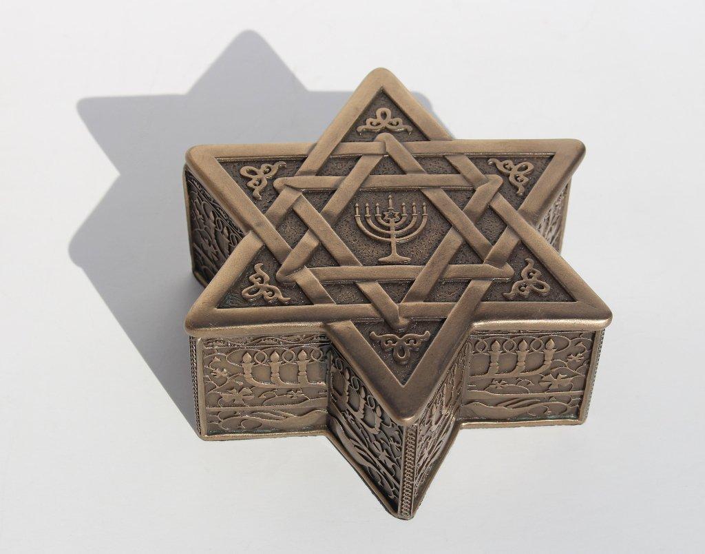 Star Of David With Menorah Jewelry Box 4 3//4 Inch long