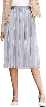 Falda Tul Mujer Elegante A-Línea Abalorios Plisado Fashion Faldas ...