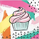 Pack of 192 Multicolored Chic Cupcake Printed Disposable Party Beverage Napkins 5''