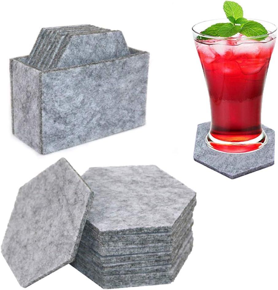 Ahn'Qiraj 12Pcs Felt Coasters for Drinks with Multipurpose Holder - Hexagon Round Absorbent Felt Coaster Protect Furniture Coasters Coffee Table Decor Housewarming Gift (Light gray)