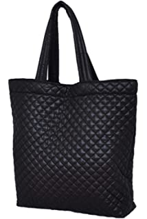 fdcc77f875 ClaraNY Comfortable light weight quilted market Tote water repellent Black