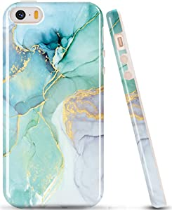 luolnh Compatible with iPhone 5 5S Case,Marble Design,Shockproof Clear Bumper TPU Soft Case Rubber Silicone Skin Cover Case for iPhone 5 5s (Abstract Blue&Green)