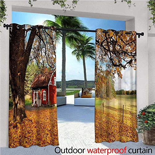 warmfamily Fall Balcony Curtains Red Swedish Country House Outdoor Patio Curtains Waterproof with Grommets W72 x L96