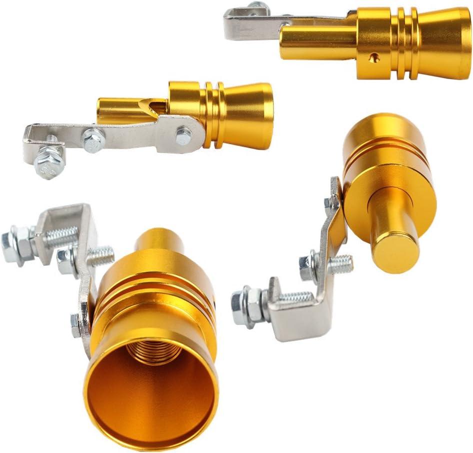 Dewhel Universal Aluminum Turbo Sound Exhaust Muffler Pipe Whistle Car Blow off valve BOV Tip Simulator Whistler XL, Gold