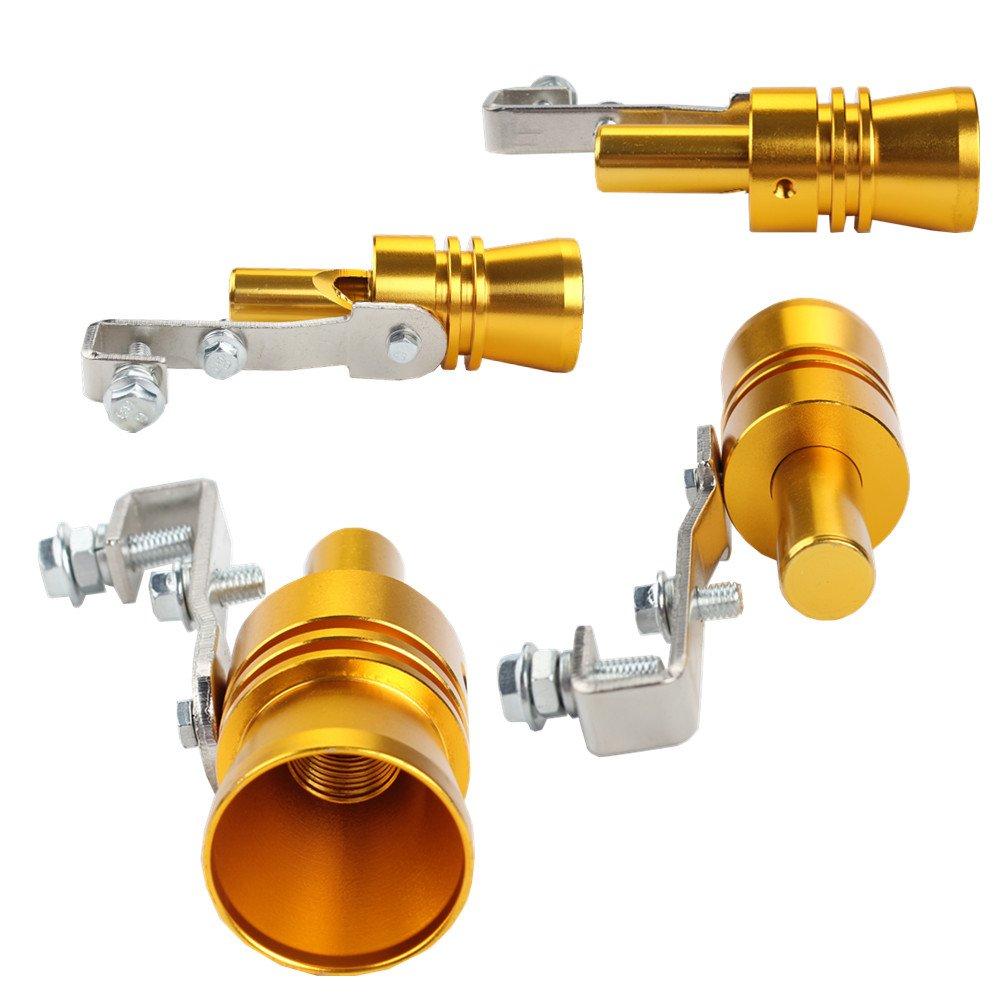 XL, Silver Dewhel Universal Aluminum Turbo Sound Exhaust Muffler Pipe Whistle Car Blow off valve BOV Tip Simulator Whistler