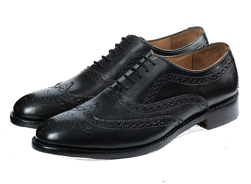 Black CMAApparel Men's Leather Wingtip Oxford in Goodyear Welted Construction