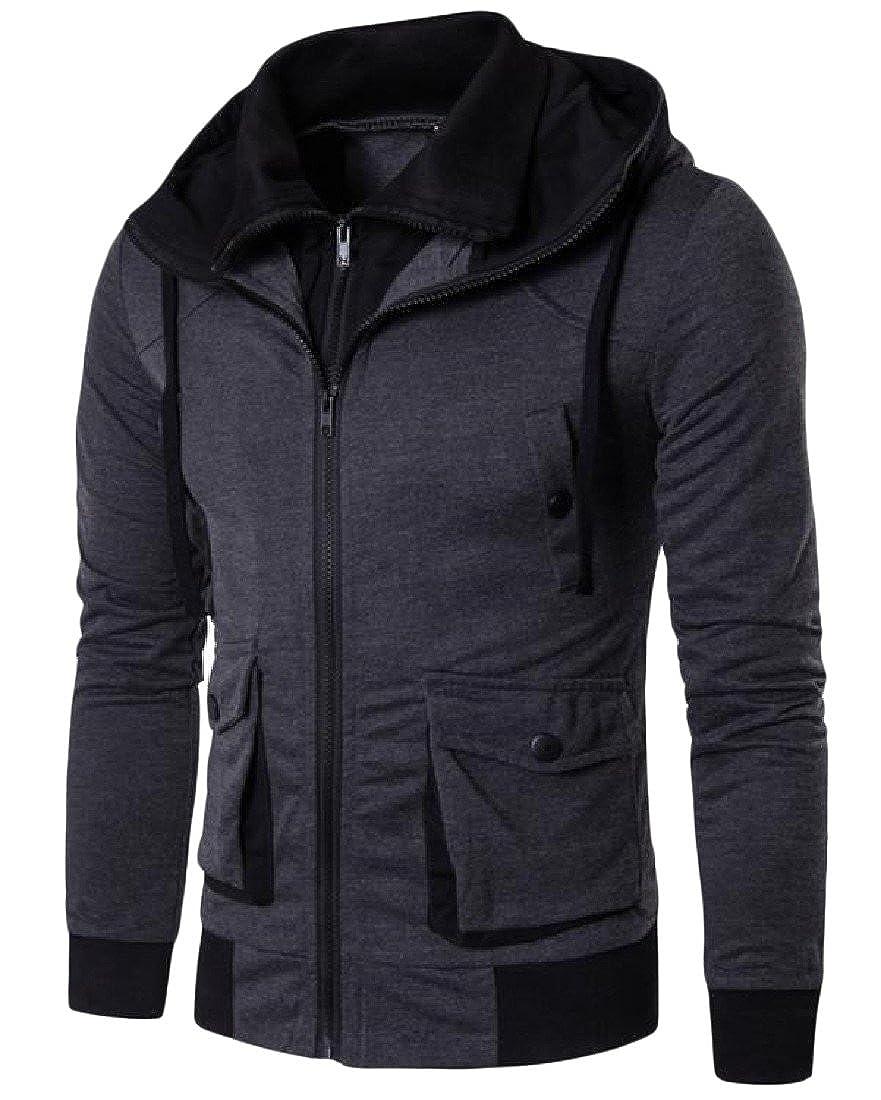 Honey GD Mens Solid Drawstring Zipper Pocket Simple Hoodie Jacket