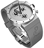Pocavi Men's Gray Stainless Steel Watch with Gray Rubber Band