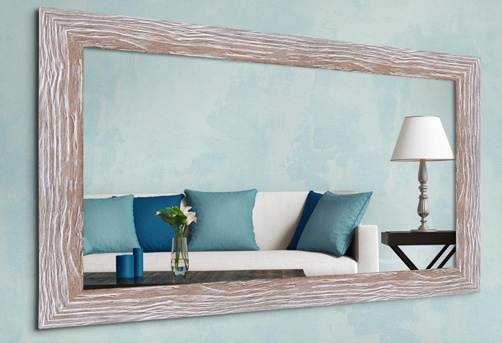 WANDStyle WS-H380-022 Wand Spiegel Eiche weiß gekalkt Modern Natur Elegant Massivholz (70 x 100 cm)