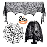 Dissytoys 3 Pack Halloween Decoration Black Lace Spiderweb Tablecloth Lamp Shade Fireplace Scarf Cover Home Festival Party Decor Supplies 18 x 96 inch