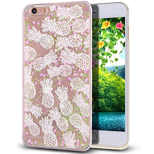 lovely iPhone 6 Plus 6s Plus Case, Greendimension Flowing Quicksand Floating Liquid Bling Glitter Small Pink Love Hearts Printed Pattern Hard Case Cover For iPhone 6 Plus 6s Plus 5.5 Inch (Pineapples)