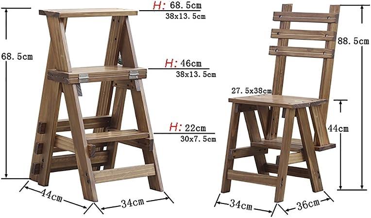ZENGAI Escalera Madera Escalera Silla Escaleras Silla Escalera En Madera Utilidad De Madera Paso Escalera Plegable 3 Pasos Biblioteca#: Amazon.es: Hogar