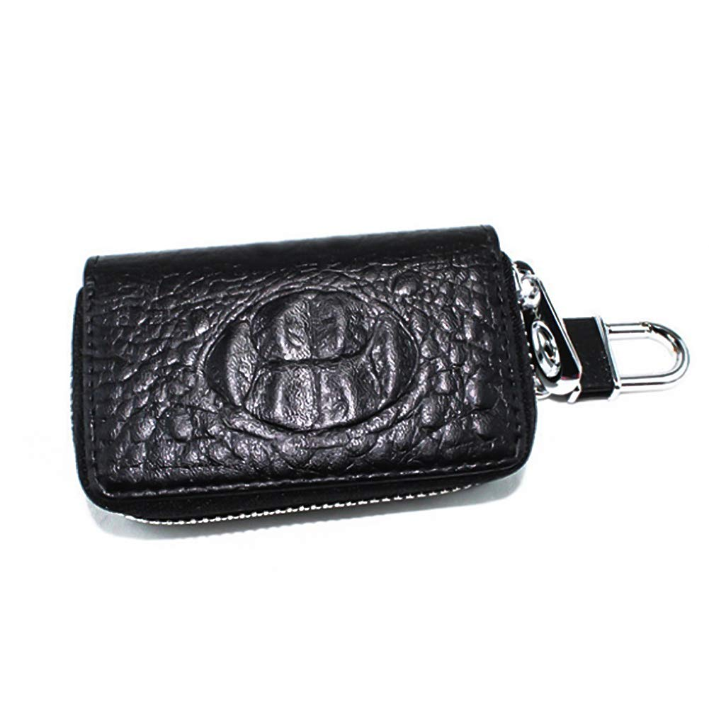 Car Key Case, Leather Car Key Chain Keychain Holder Zipped Style Car Key Protective Sleeve (Black)